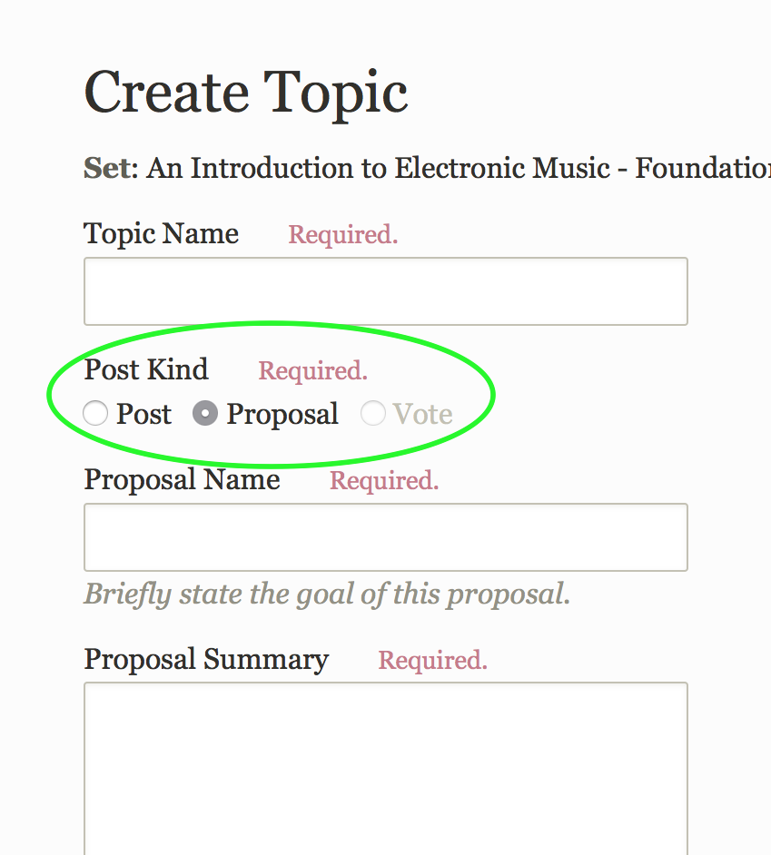 An outdated screenshot. When you create a topic or post, you can choose between a regular post, a proposal, or a vote.