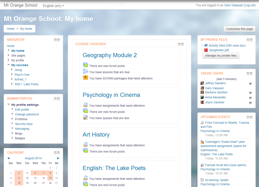 A screenshot of Moodle, an open-source learning management system. Designed to support in person classes, but sometimes used to teach a course by itself. [https://commons.wikimedia.org/wiki/File:1_MyHomeExample.png](https://commons.wikimedia.org/wiki/File:1_MyHomeExample.png)