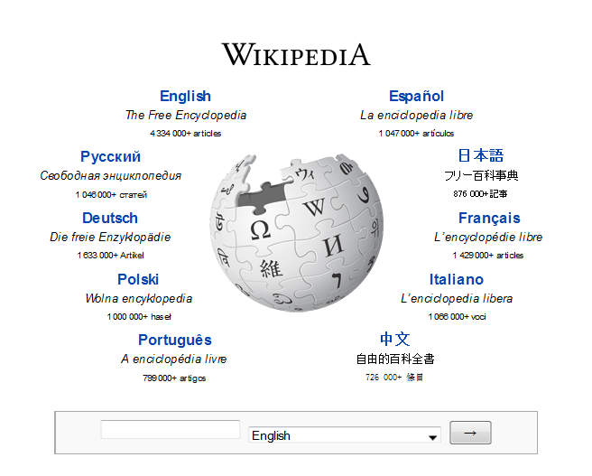 A screenshot from Wikipedia, the largest open-content system that exists. [https://commons.wikimedia.org/wiki/Wikipedia#/media/File:Www.wikipedia.org_screenshot_2013.png](https://commons.wikimedia.org/wiki/Wikipedia#/media/File:Www.wikipedia.org_screenshot_2013.png)