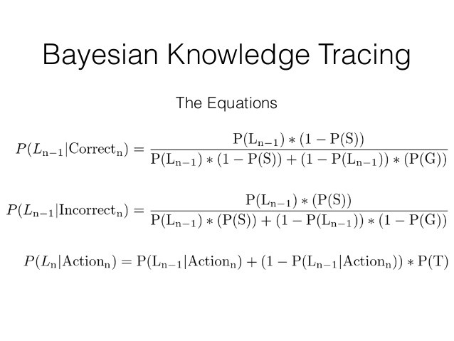 "The equations for Bayesian Knowledge Tracing. It is simpler than it looks. P(L) is probability learned, P(S) is probability of ""slip"", or making a mistake, and P(G) is probability of ""guess"". P(T) is probability of ""transit"", or how likely the learner learned the content from this material. From [https://www.researchgate.net/publication/249424313_Individualized_Bayesian_Knowledge_Tracing_Models](https://www.researchgate.net/publication/249424313_Individualized_Bayesian_Knowledge_Tracing_Models)"