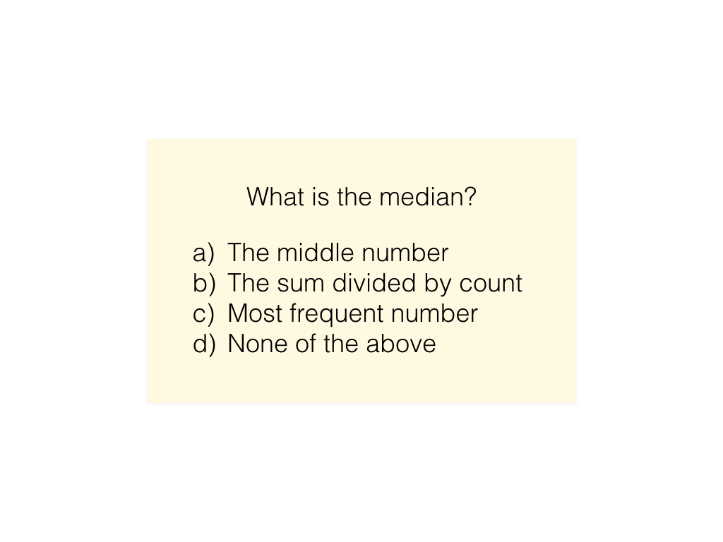 A card in a single learning activity. In this example, this is a multiple choice question card.